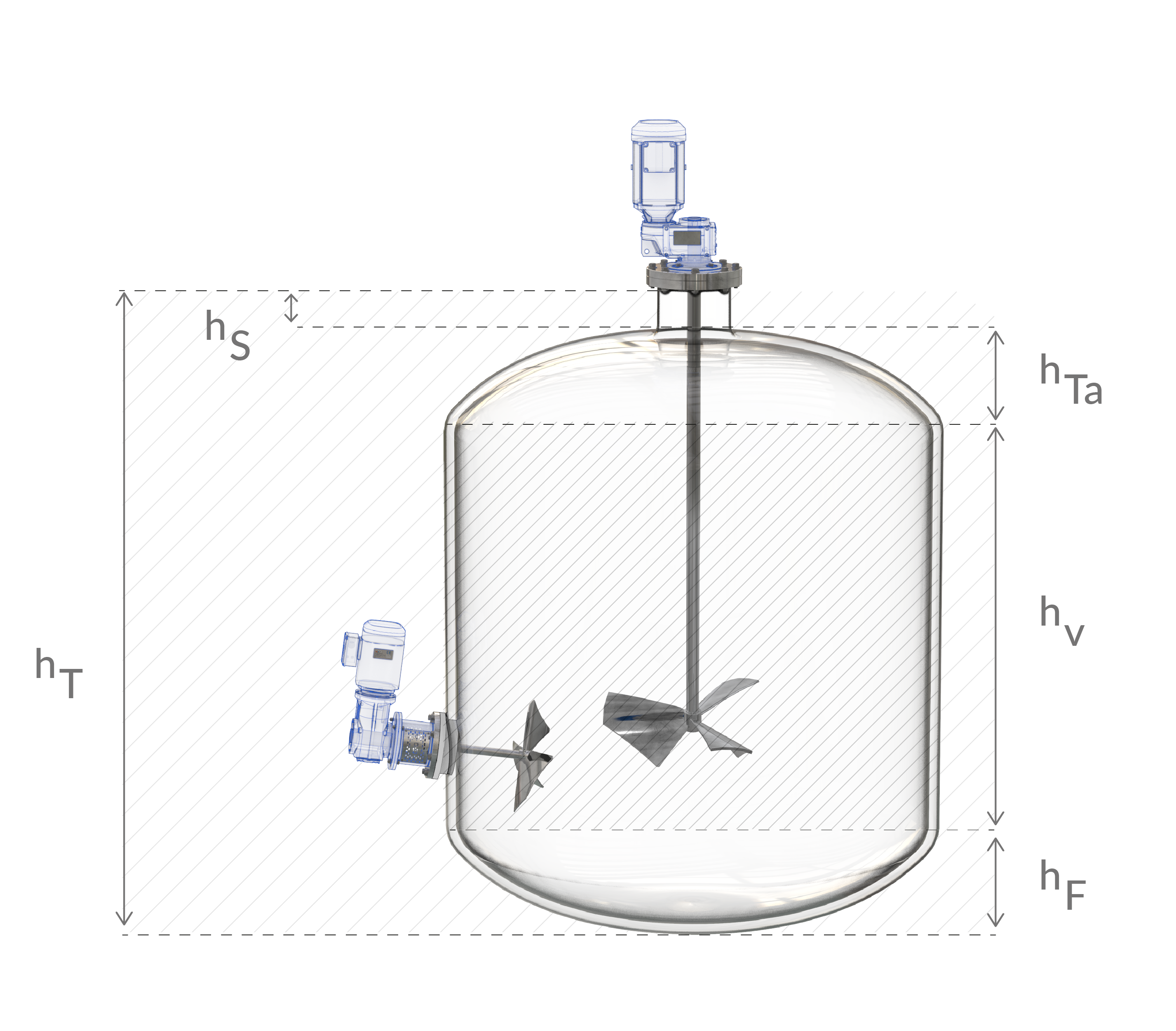 Muestra del diseño de un agitador industrial